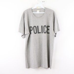 Vintage 80s Police Spell Out Distressed Shirt Gray